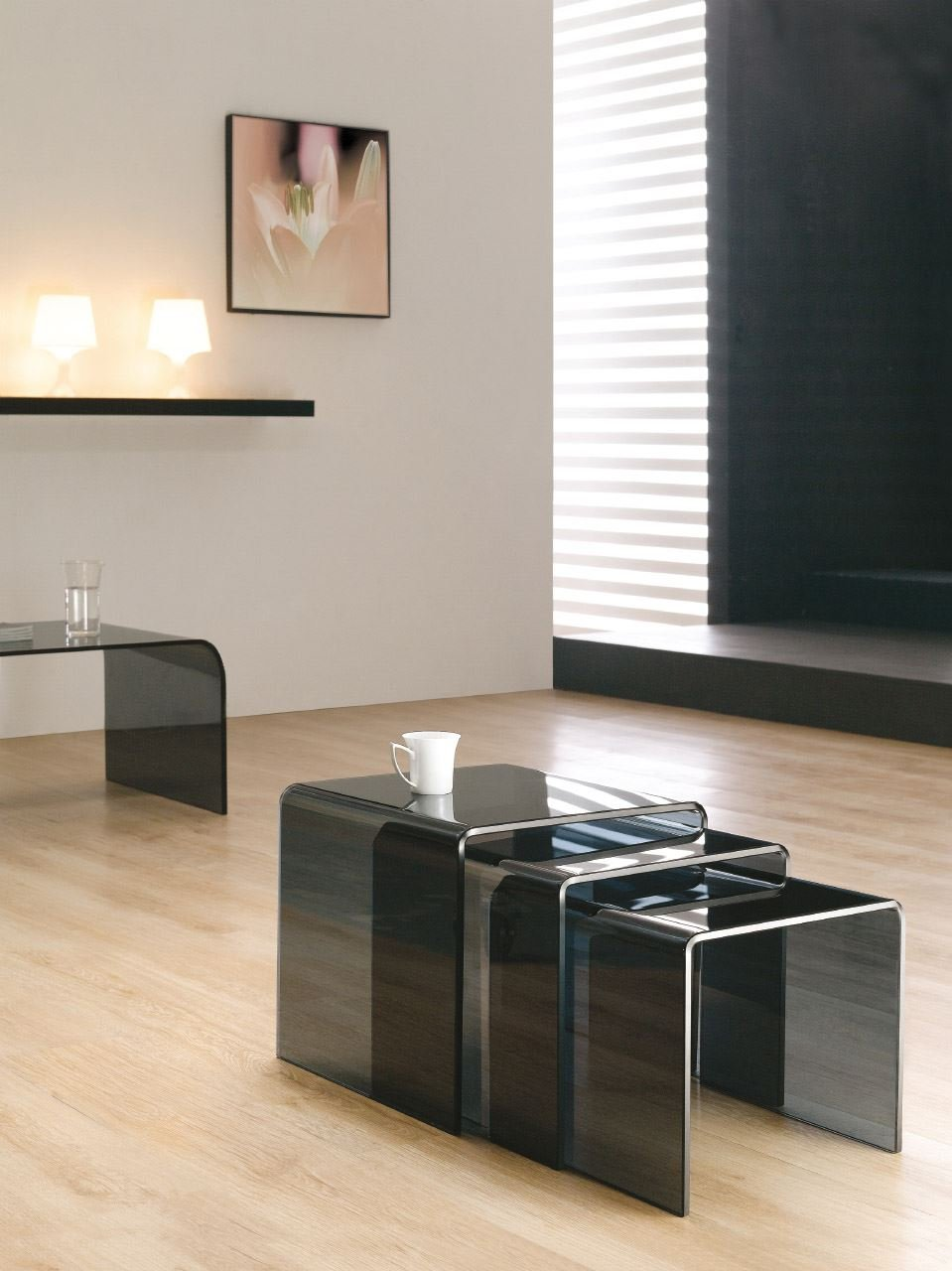 Milan Curved Bent Black (smoked) Glass Nest Of Coffee Side Tables (42 X