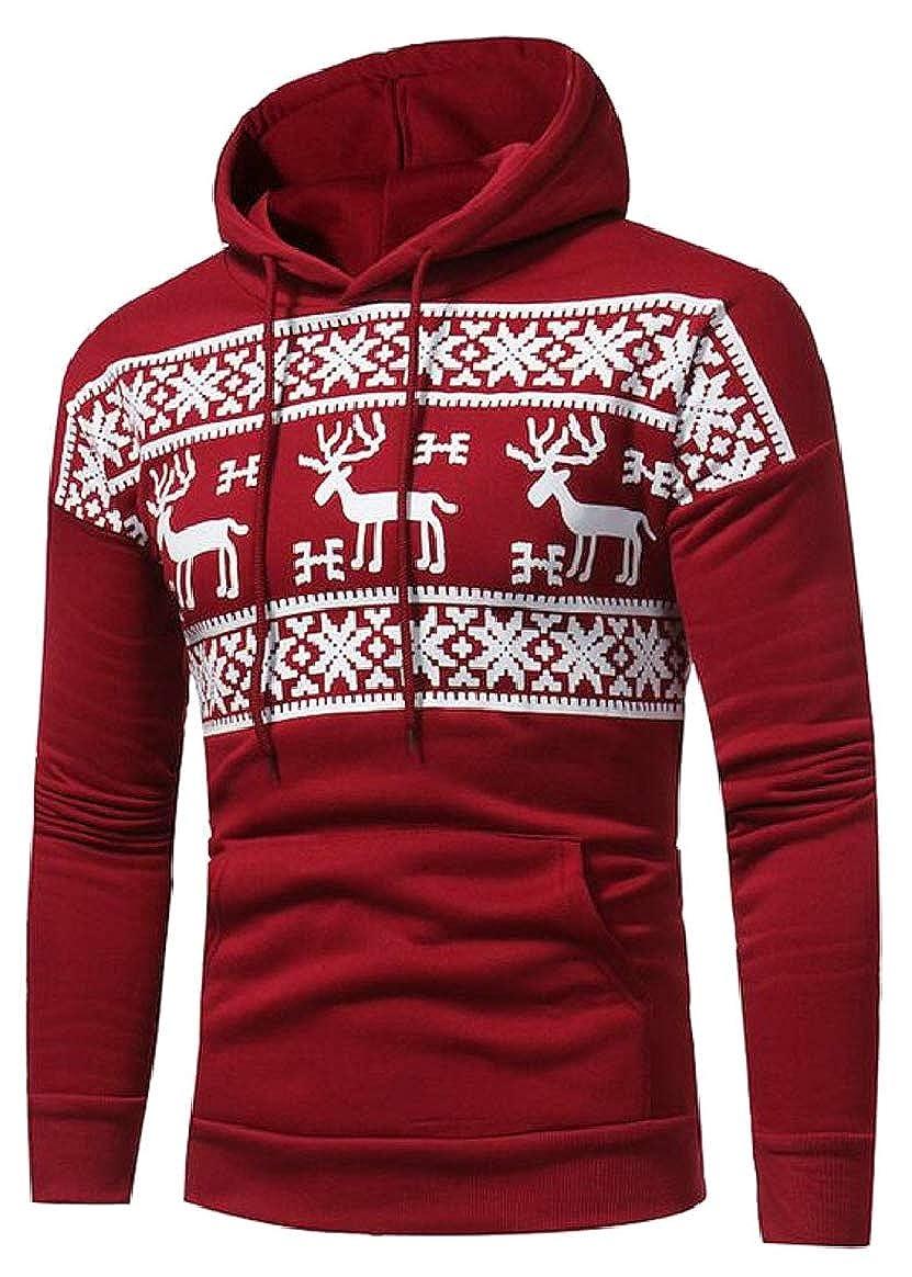 pujingge Mens Hoodies Hooded Long Sleeve Christmas Pullover Sweatshirt