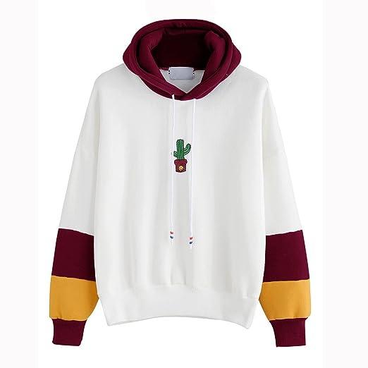 Amazon.com  CZYCO Smiley Cactus Lady Color Stitched Hoodie Sweater ... 3197ebbf1