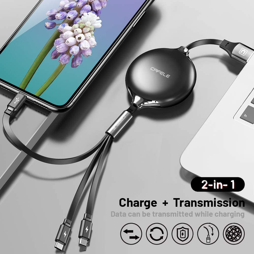CAFELE USB Charging Cable 3 in 1 Fast Charger Cord Connector for Phone//Type C//Micro USB Port Retractable Power Adapter,Data Transfer QC 3A Compatible for Tablets//Samsung//Google Pixel and More-4FT