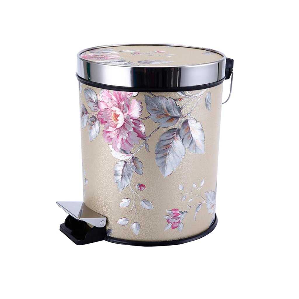 European Style Gold + Pink Flowers Pedal Trash Bin Fashion Creative Trash Can Kitchen Bathroom With Cover Foot Trash Can 15L Creative ZLL-Waste Bins