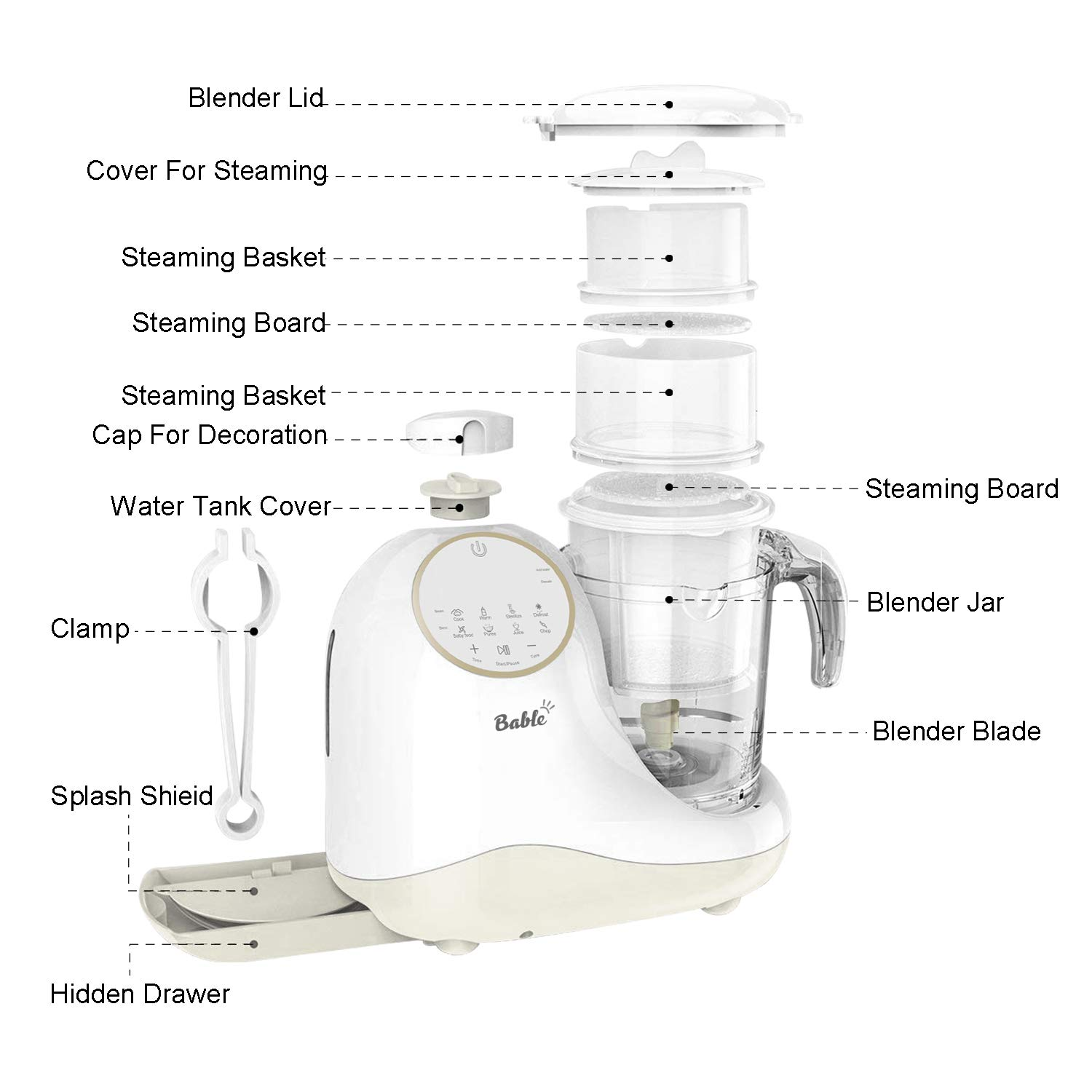 Baby Food Maker for Infants and Toddlers, Bable All in 1 Food Processor Mills Machine with Steam, Blend, Chop, Reheater, Grinder and Auto Cleaning, Touch Control Panel, Auto Shut-Off by BABLE (Image #7)
