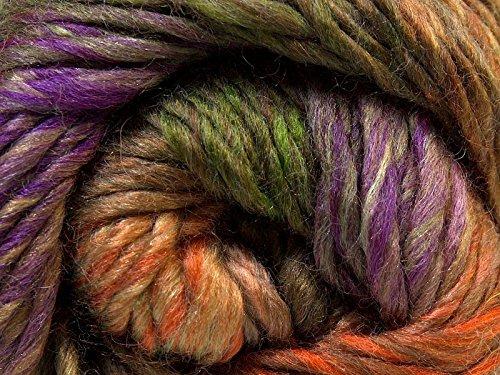(1) 100 Gram Iona Island Donna - 70% Wool Color Twist Yarn Purple, Green, Orange, Tan