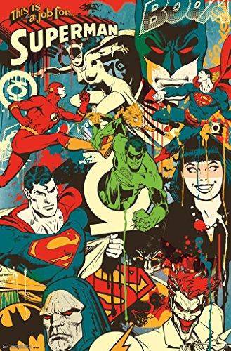 BEYONDTHEWALL® Archive DC Comics Throwback Collage Superhero Vintage Decorative Art Print (24x36 Unframed Poster) -