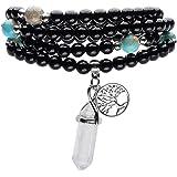 Top Plaza 108 Natural Black Agate Stone Tibetan Buddhist Prayer Mala Beads Buddha Yoga Meditation Wrap Bracelet/Necklace 6mm