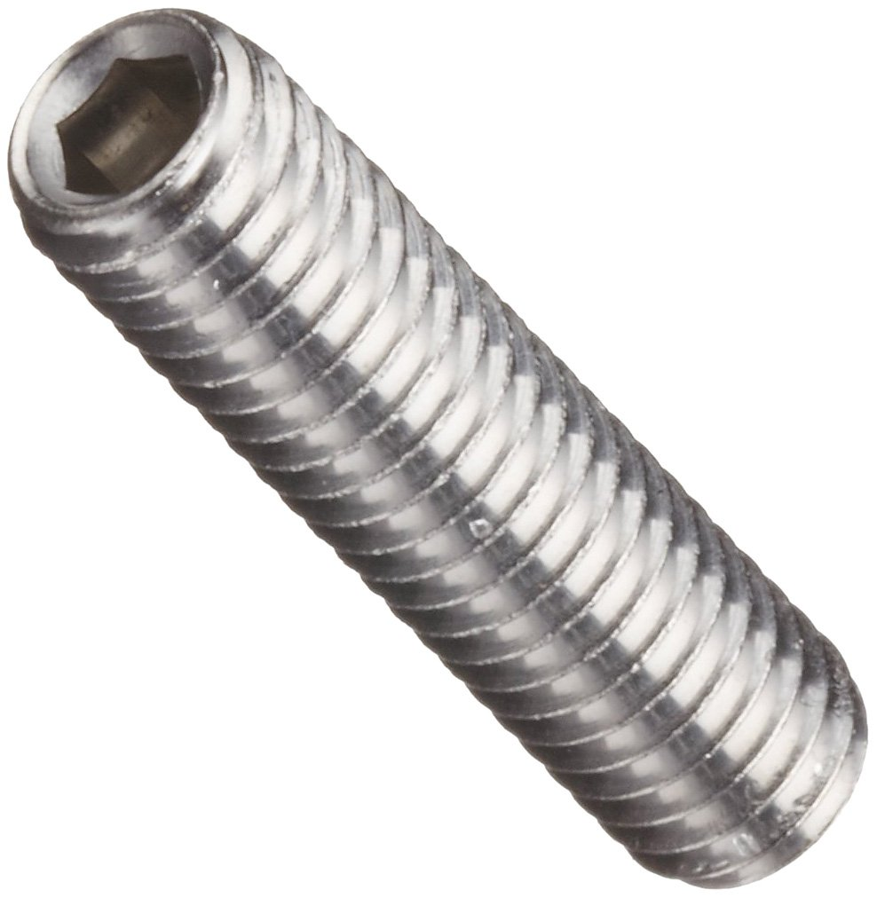 Cup Point Pack of 10 10mm Length Vented M5-0.8 Metric Coarse Threads 18-8 Stainless Steel Set Screw Plain Finish Hex Socket Drive