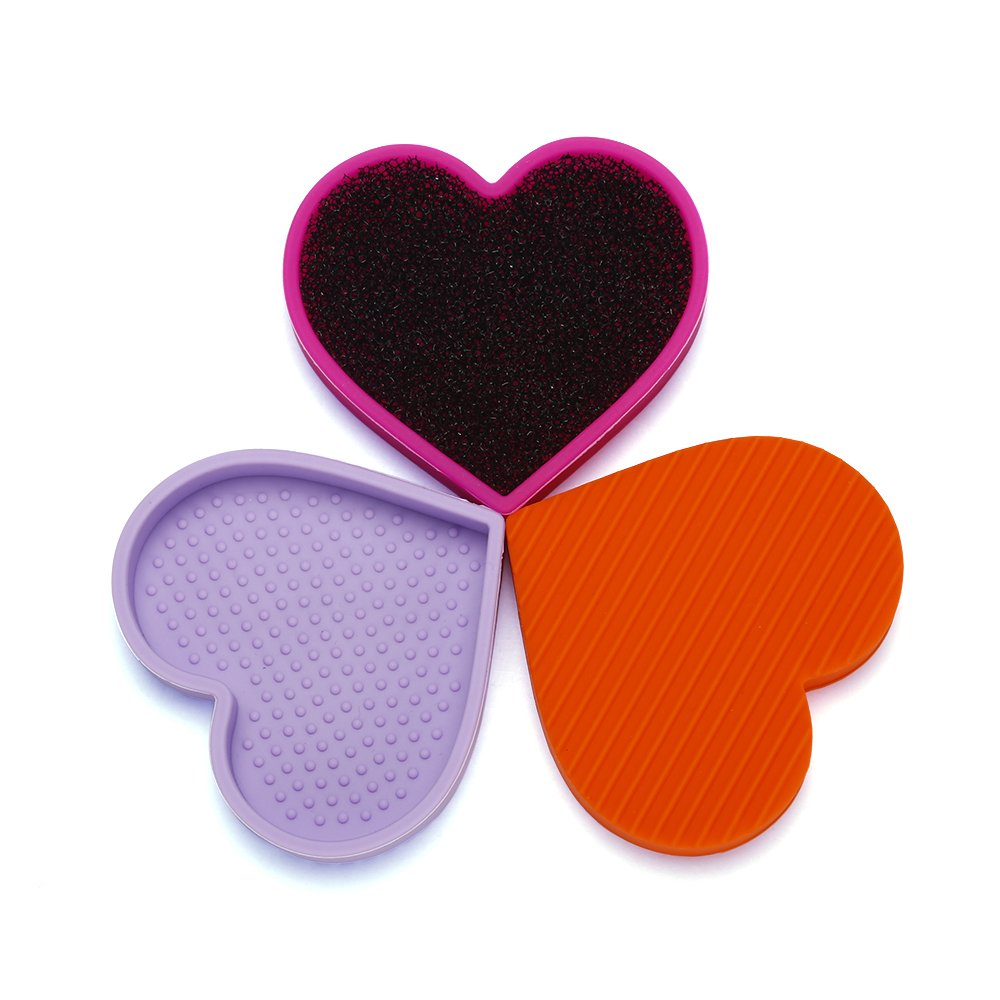 Miss Gorgeous Wet and Dry Makeup Brush Cleaning Mat with Cleaner Sponge Tools Kit Heart Shaped Silicone Cosmetic Brush Cleaner Pad (3 Pcs/Set Purple+Orange+Rose Red) St Future
