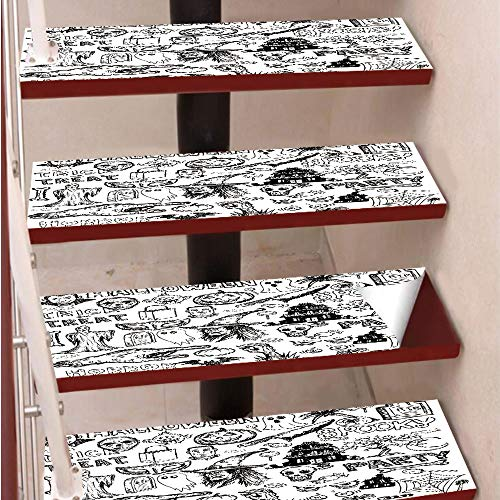 3D Print Non-Slip PVC Stair Pads,Self-Adhesive Steps Sticker,Staircase Treads Protector,Hand Drawn Halloween Doodle Trick or Treat Knife Party Severed Hand Decorative,for Home Decoration(9.8X39 inch)]()