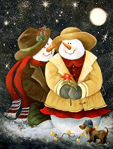 picture of Caroline's Treasures PJC1016CHF Love at Christmas Snowman Flag Canvas, Large, Multicolor