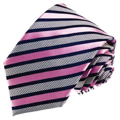 LORENZO CANA - Luxury Italian Pure Silk Tie Pink Blue Silver Stripes Necktie - 84537