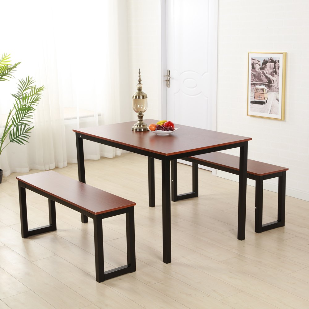 Bonnlo Modern 3 Pieces Dining Set Dining Table with 2 Benches