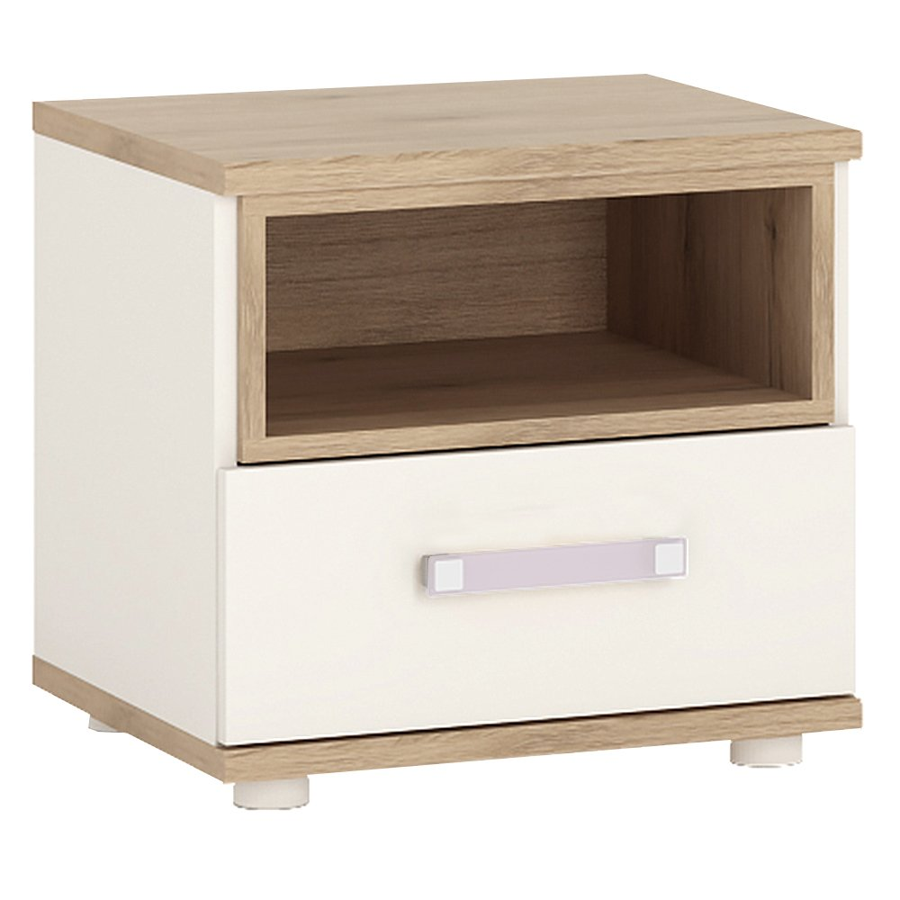 Meubles to Go 4 Kids Table de chevet 1 tiroir avec poignées Lilas - bois - blanc brillant-Chêne clair