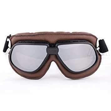 Brown Leather Soft Padded Vintage Aviator Pilot Cruiser Steampunk Goggles Motorbike Racing Glasses Helmet