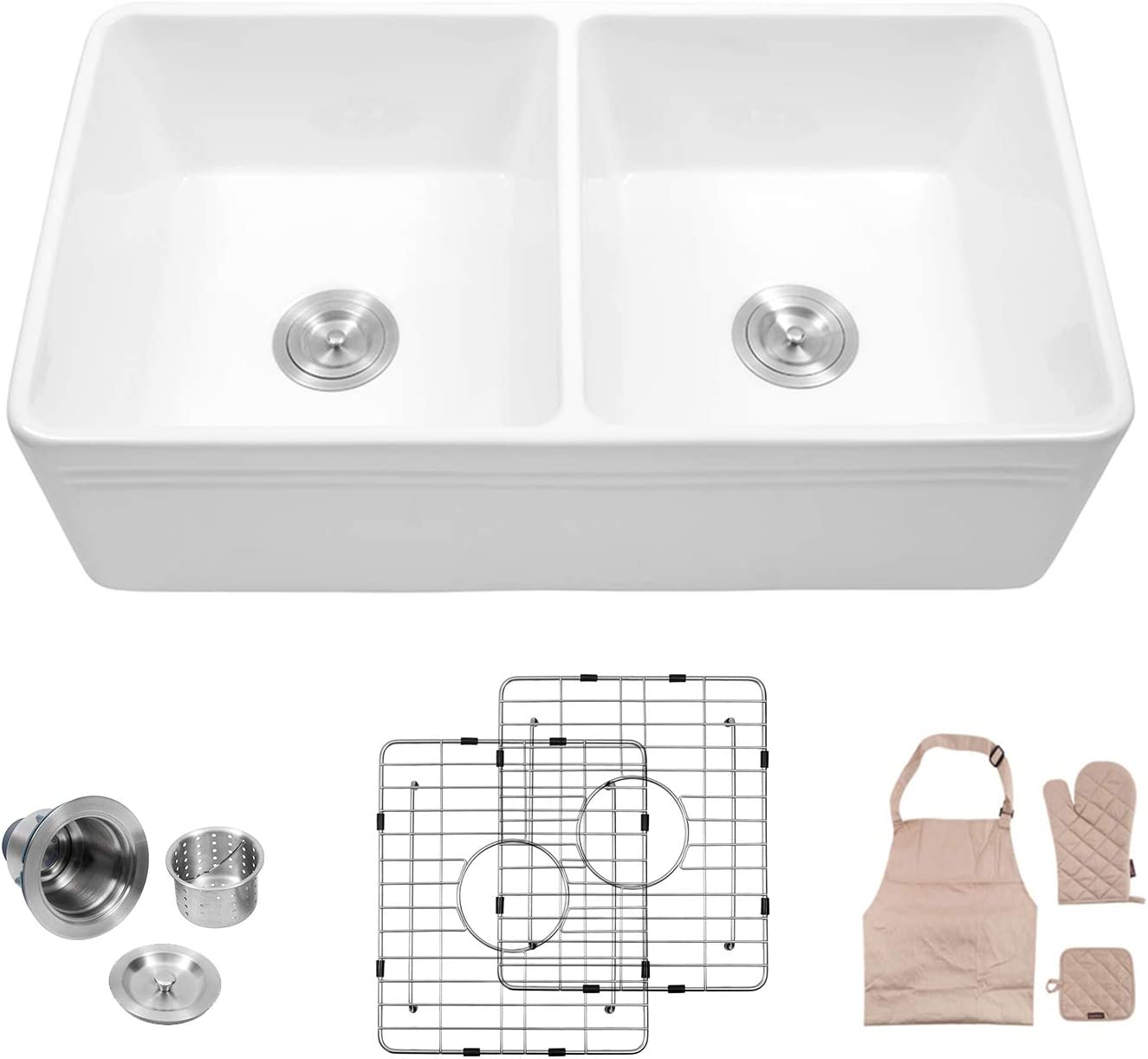 Lordear 33 Double Bowl Kitchen Sinks,Fireclay farmhouse Sink White Farmhouse Apron-Front Kitchen Sink