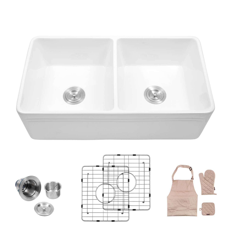 Lordear 33'' Double Bowl Kitchen Sinks,Fireclay farmhouse Sink White Farmhouse Apron-Front Kitchen Sink by Lordear