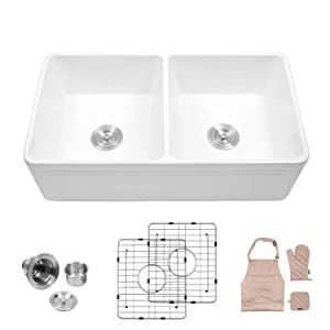"Lordear 33"" Double Bowl Kitchen Sinks, LAW3318R2 White Porcelain Ceramic Farmhouse Fireclay Apron-Front Kitchen Sink Sink (33 inch)"