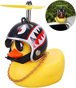 wonuu Rubber Duck Toy Car Ornaments Yellow Duck Car Dashboard Decorations with Propeller Helmet for Adults, Kids, Women, Men (Shark)