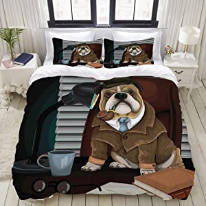 FAKAINU Duvet Cover Set, Traditional English Detective Dog with a Pipe and Hat Sherlock Holmes Image, Decorative 3 Piece Bedding Set with 2 Pillow Shams, Twin Size