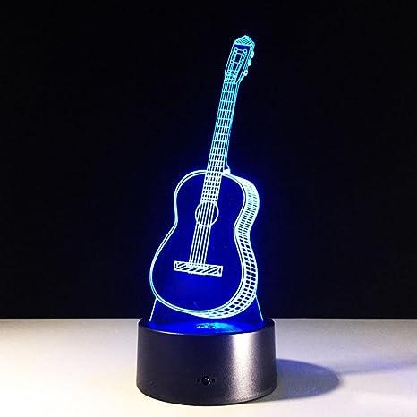 Guitarra 3D Lámpara LED 7 Colorido Arte Escultura Luces Decoración 3D Lámpara de Ilusión Óptica con