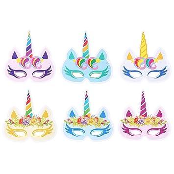 Toporchid 12 Stück Einhorn Party Augenmaske Geburtstag Horn Maske ...