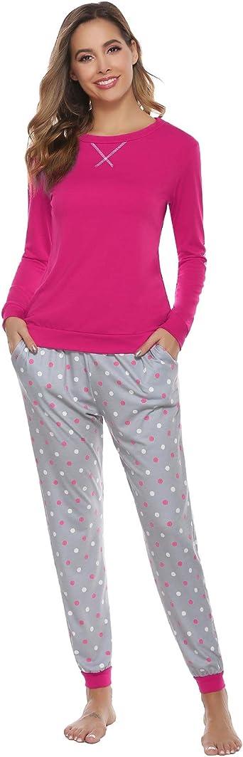 Hawiton Pigiama Uomo Cotone Lungo Pigiama Due Pezzi con Tasca Maniche Lunghe Pantaloni Quadretti Lunghi per Autunno Inverno