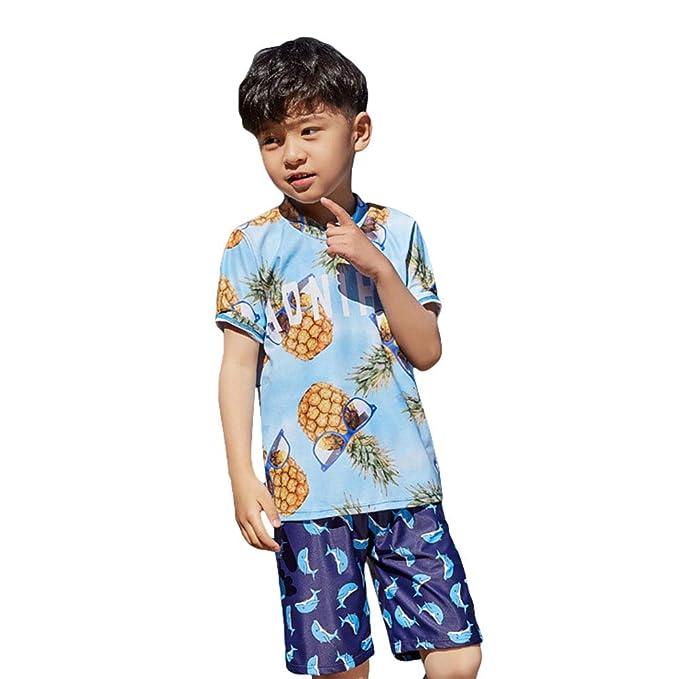 28a96356c3 Amazon.com: Digirlsor Toddler Kids Boys Two Piece Swimsuit 3pcs-Swim t Shirt  + Beach Shorts Trunks + Cap Swimwear Set, 2-12Y: Clothing