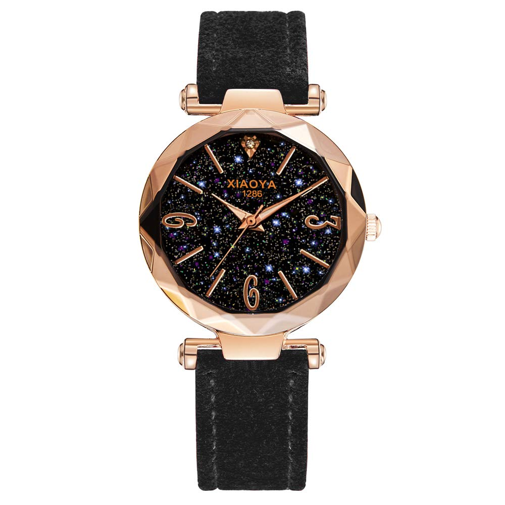 Amazon.com: Women Fashion Watches Scrub Leather Band Analog Quartz Dress Wrist Watch (1266 Black): Watches