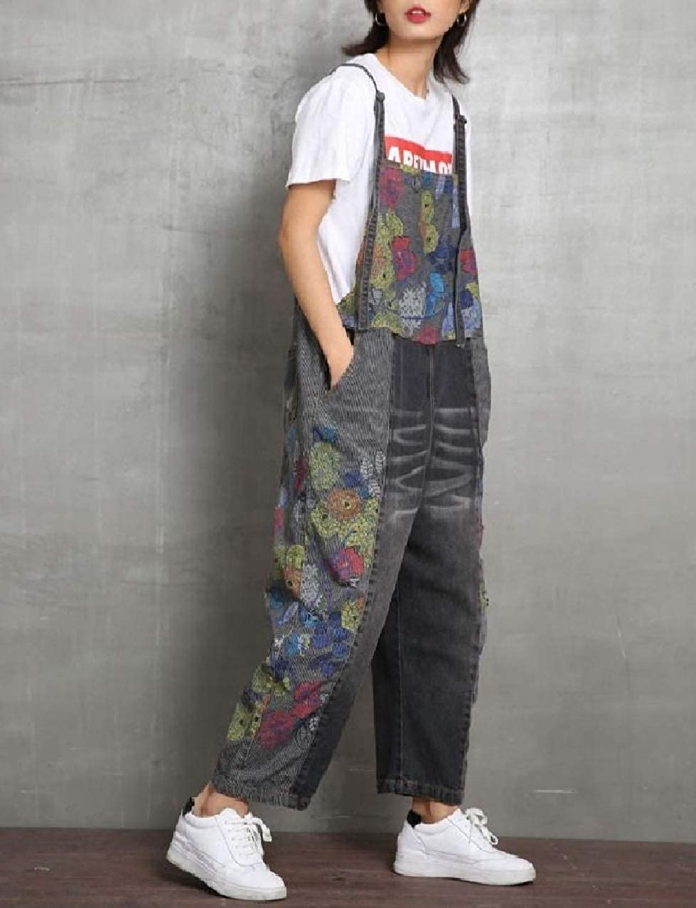 Zimaes-Women Overalls Straight-Fit Palazzo Wide Leg Jeans Bib Pants