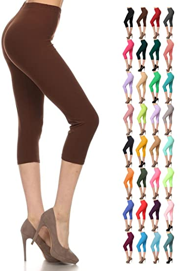 Leggings Depot Buttery Soft Basic Solid 36 Colors Women S Capri