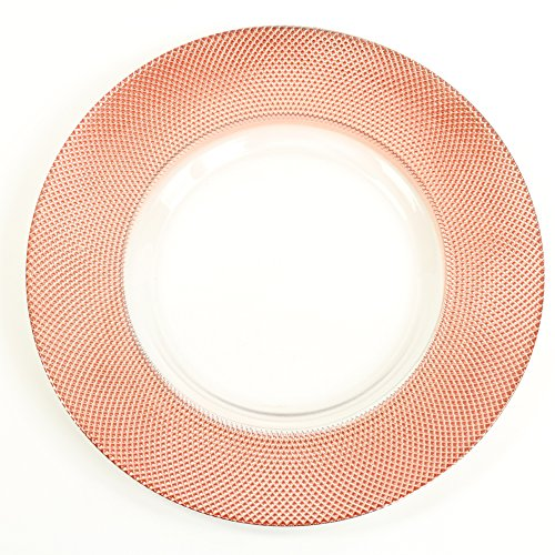 Koyal Wholesale Bulk Diamond Glass Charger Plates, Set of 4, Rose - Glass Red Charger