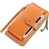 Cartera pequeña corta para mujer con tarjeta de crédito y monedero plegable con cremallera, de piel sintética, N1818, Amarill