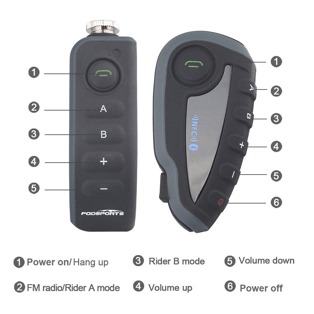 FM Radio NFC 1200m 5 piloti Full Duplex vivavoce Bluetooth comunicazione interfono ottimo per equitazione e lo sci manubrio remoto impermeabile Fodsports 2pcs moto moto Multi Bluetooth Intercom Interfono auricolari