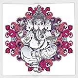 Cotton Microfiber Hand Towel,Elephant,Elephant Figure over Floral Colorful Mandala Pattern Eastern Faith Symbol Print Decorative,Pink Grey,for Kids, Teens, and Adults,One Side Printing