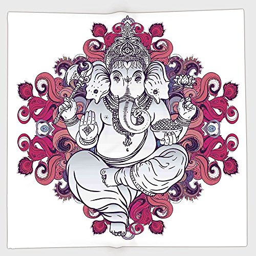 Cotton Microfiber Hand Towel,Elephant,Elephant Figure over Floral Colorful Mandala Pattern Eastern Faith Symbol Print Decorative,Pink Grey,for Kids, Teens, and Adults,One Side Printing by iPrint