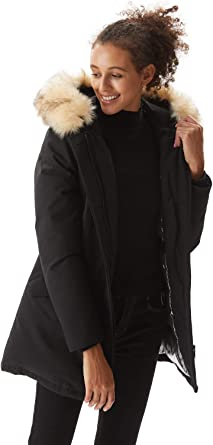 Molemsx Women's Thickened Down Jacket Warm Parka Down Coat with Fur Hood Puffer Jacket
