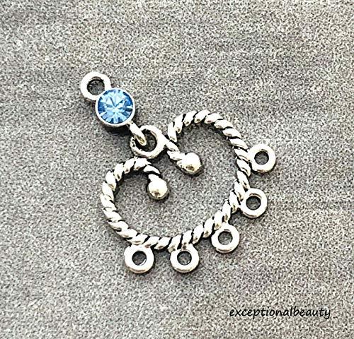 2 Lt Sapphire Swarovski Crystal Rhinestone Silver Chanelier Bead Earring Drops