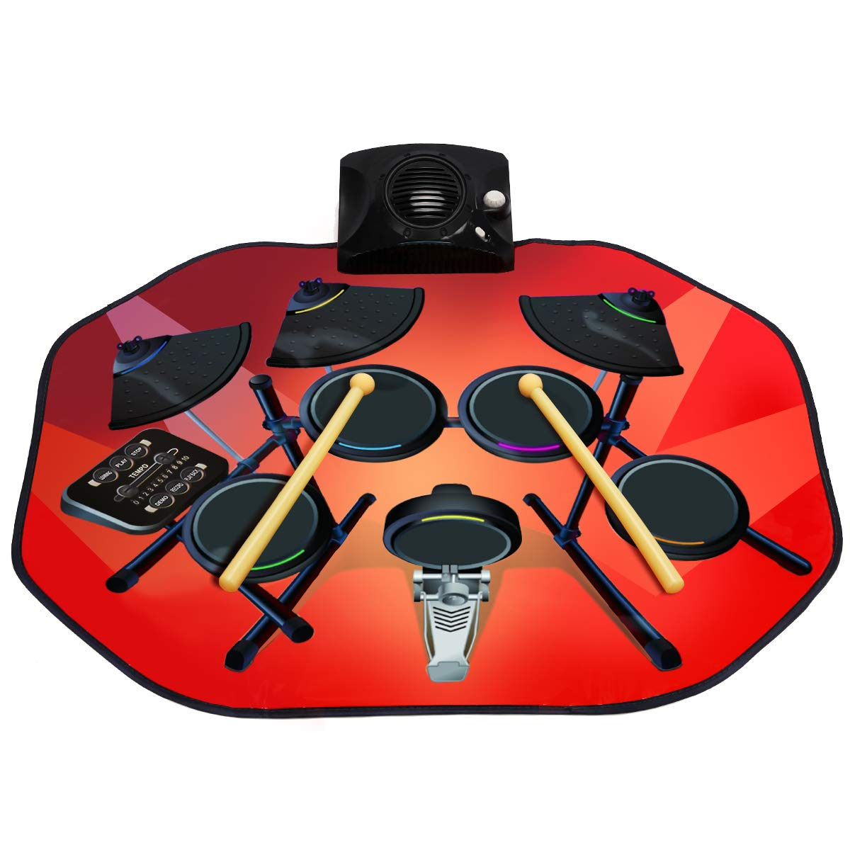 Costzon Electronic Drum Mat, 8 Keys Glowing Music Mat with LED Lights,MP3 Cable, Drumsticks, Support Play - Study-Record - Playback - Demo 5 Modes, Volume Control by Costzon (Image #1)