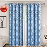 yellow insulated grommet curtains - Haperlare Medallion Blackout Curtains, Floral Print Thermal Insulated Blackout Window Curtains for Bedroom,Medallion/Floral Pattern Grommet Top Curtains - W52 x L84 Inch,2 Panels, Blue/Light Grey