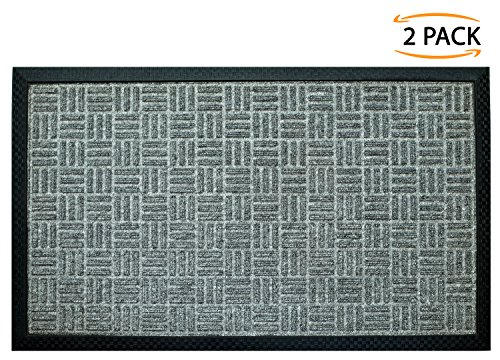 Frontgate Outdoor Rugs (Iron Gate - 2 Pack Gatekeeper Doormat 24x36 Light Grey - Extremely sturdy and rugged construction 69 Ounces / 6000 GSM - Polypropylene surface & Rubber back for better floor grip - Indoor /Outdoor use)