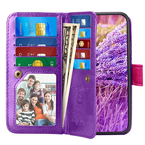 iPhone X Case, Pasonomi iPhone X Wallet Case with Detachable SlimCase - [Folio Style] PU leather wallet case with ID&Card Holder Slot Wrist Strap for Apple iPhone X 5.8 inch 2017 (Purple)