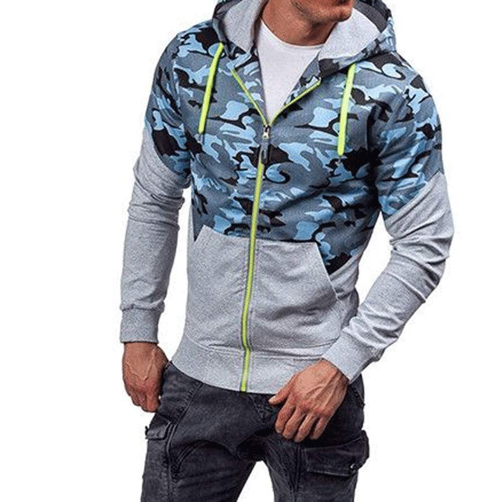 Men's Camouflage Zipper Hoodies Jacket Plus Size, HOMEBABY Gentleman Winter Warm Long Sleeve Pullover Jumpers Sport Running Hooded Sweatshirt Casual Tops Outwear Sportswear