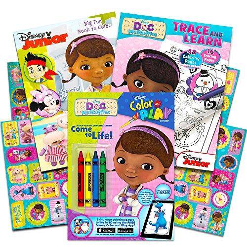 Disney Junior Doc McStuffins Coloring Book Super Set -- 3 Books with Stickers and Crayons (Doc McStuffins Party Supplies) ()