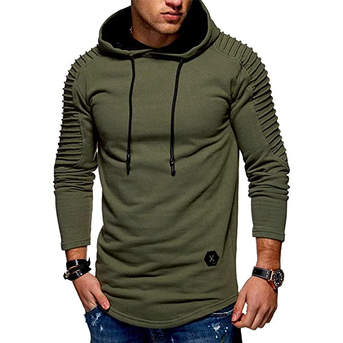 013efe3be87f9 CharMma Men s Solid Pleated Sleeve Patch Detail Long Fleece Pullover Hoodie  (Army Green