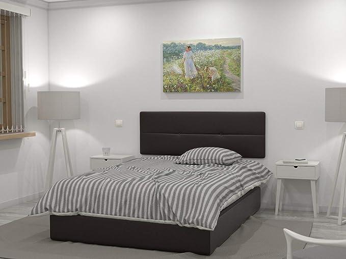 LA WEB DEL COLCHON Cabecero de Cama tapizado Acolchado Julie 145 x 55 cms. para Camas de 135 y 140 cms. Polipel Color Marrón Chocolate.