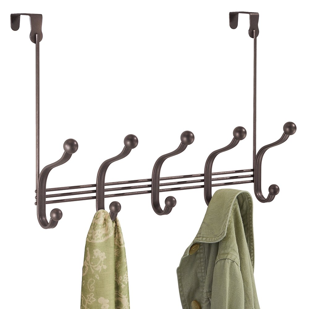 mDesign Over Door 10 Hook Steel Storage Organizer Rack for Coats, Hoodies, Hats, Scarves, Purses, Leashes, Bath Towels & Robes - Bronze MetroDecor 3571MDCO
