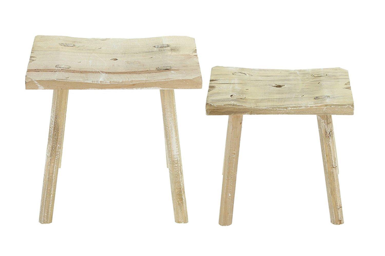Frank flechtwaren set di sgabelli in legno stile rustico