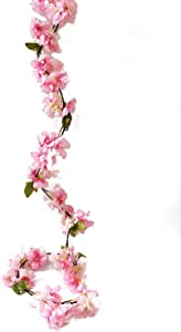 Artfen Artificial Cherry Blossom Vine Hanging Plants Faux Sakura Garland Fake Oriental Cherry Wreath Artificial Flower 5.8 FT Light Pink