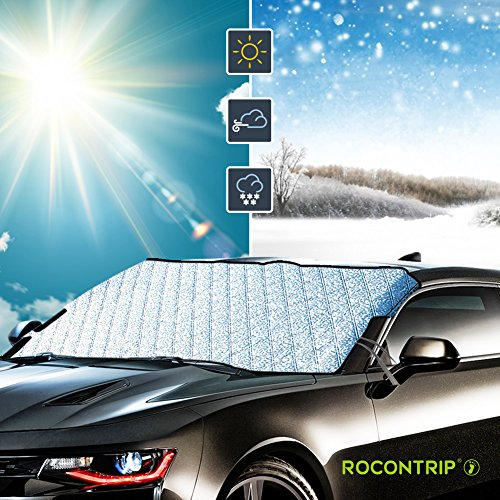 Windscreen Cover Protector Waterproof Anti-frost Snow Sun Shade Protector Universal Removable Front Window Cover Fits Most Vehicles in All Weather ROCONTRIP Car Windscreen Frost Cover