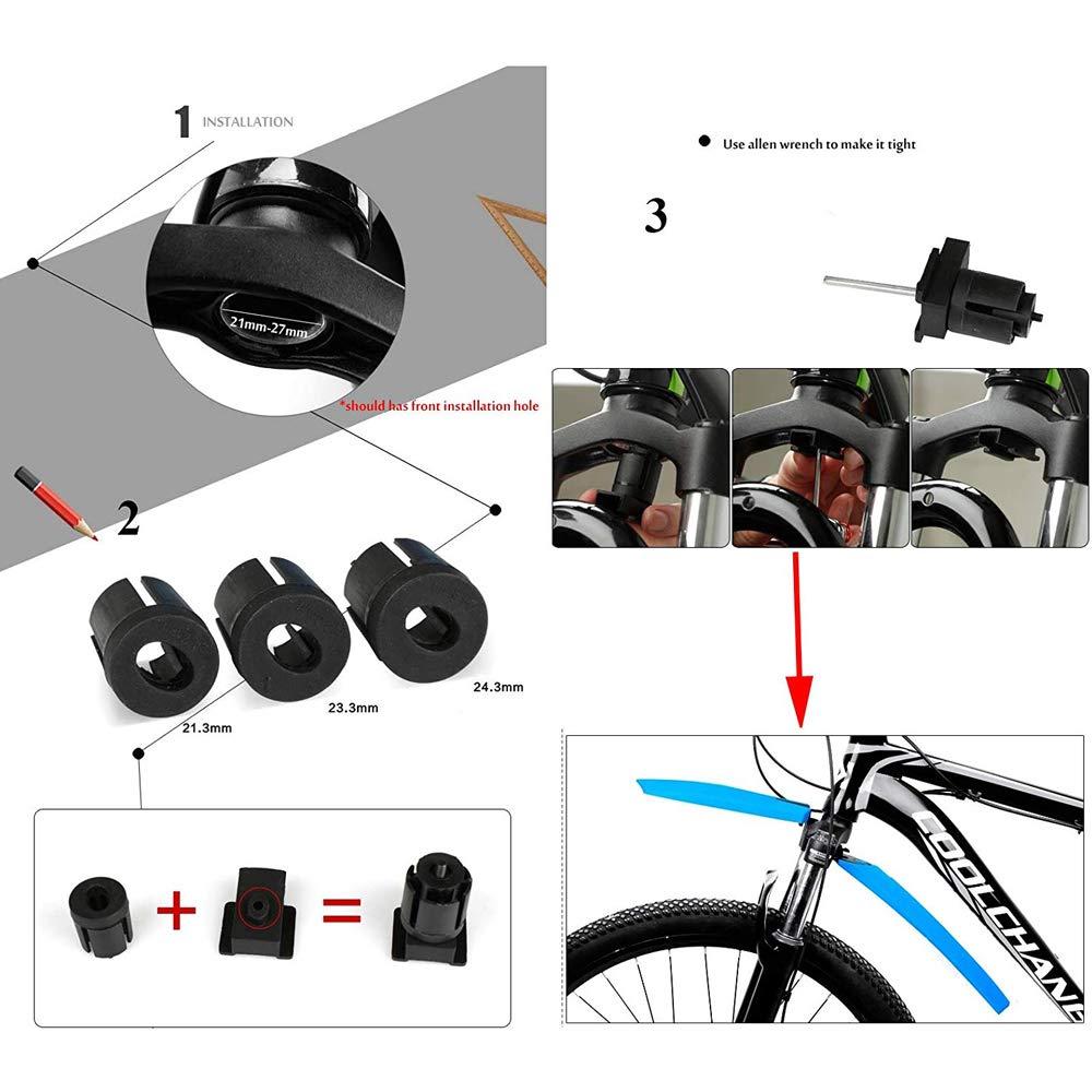 VOANZO Guardabarros de Bicicleta de liberaci/ón r/ápida 2PCS Guardabarros de Ciclismo Trasero Delantero MTB Road City Wings Accesorios de Bicicleta Rojo
