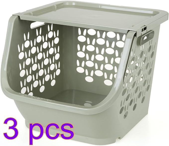 likeluk Juego de 3 cajas apilables, plástico Frutas y Verduras Cajas Con Tapa Para robot de cocina, PP, Rosa, 30,5 * 29,5 * 25 cm: Amazon.es: Hogar